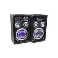 Fenton KA-08 Aktiv Passiv Karaoke-PA-Lautsprecher Boxen Set (300W RMS, USB-SD-Slot, LED-Lichteffekt musikgesteuert, Mikrofon-und Effektsektion) schwarz