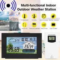 LCD Wireless Funk Wetterstation mit Touchscreen Farbdisplay, inkl. Außensensor, Funkuhr Wecker, Innen-Außentemperatur, Barometer, Thermometer Temperatur Hygrometer