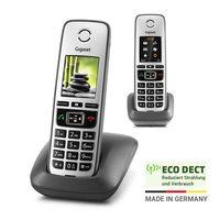Gigaset FAMILY Duo – 2 schnurlose Telefone mit großem, farbigem Display und hoher Reichweite – anthrazit-grau