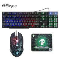 T6 LED Rainbow Beleuchtet Gaming Tastatur USB Ergonomisch + 2400DPI Maus + Mauspad Set