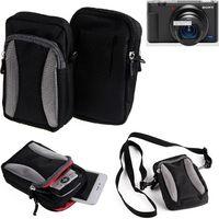 Für Sony ZV-1 Gürtel Tasche Holster Umhänge Tasche Fototasche Schutz Hülle für Sony ZV-1, schwarz-grau + Extrafach mit Platz für Powerbank,