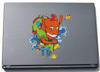 Laptopaufkleber Laptopskin clm001 - Lustige kleine Monster - Totenkopf-Skull - 150 x 192 mm Aufkleber