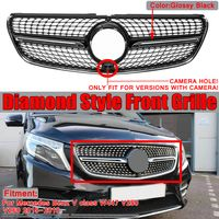Für Mercedes W447 V200 V220 V250 V260 2015-2018 Diamond Style Schwarz Frontgrill Grill Frontstoßstange Grill mit Kameraloch