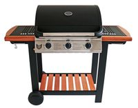 BBQ CHIEF Gasgrill Timber 3.0 - Gussrost, 3 Brenner, 10,5kW Heizleistung, Thermometer, edle Holzoptik