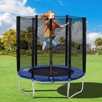 Merax Outdoor Gartentrampolin Φ183 * 205cm Trampoline inklusive Sicherheitsnetz und Sprungtuch  von GS- und zertifiert, 6FT Trampolin Gardentrampoline, belastbar bis zu 80kg, Blau+Schwarz