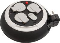 Brennenstuhl Comfort Line Kabelbox 3-fach mit USB / Mini-Kabeltrommel (Indoor-Kabeltrommel für Haushalt mit USB-Ladefunktion, 3m Kabel,  Germany) schwarz/weiß