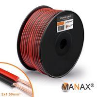 Lautsprecherkabel Audio Kabel Boxenkabel 100% CCA 100m 2x1,5mm² rot / schwarz