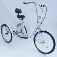 HIRAM 24 Zoll Dreirad F/ür Erwachsene 3 Rad Fahrrad Dreirad Pedal mit Warenkorb Tricycle Mit 3 R/ädern