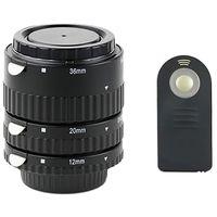 Automatik Zwischenringe 12/20/36 fuer Makrofotographie + IR-Fernbedienung passend fuer Nikon F/AF/AI Bajonett, D7000, D5300, D5100, D5000, D3000, D800, D610, D600, D90, D80, D70s, D70, D60, D50, D40x, D40 !!!Kontakt beidseitig aus METALL!!!