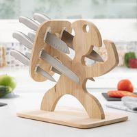 Set Messerset Holz Messerhalter Küchemesser Messerblock mit Messer 6 tlg