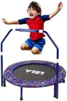 LBLA Kindertrampolin, 36 Zoll Trampolin für Kinder mit verstellbarem Handlauf und Sicherheitsabdeckung Mini-faltbares Trampolin Indoor / Outdoor