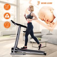 Merax Laufband Klappbar Elektrisch Laufbänder 10 km/h, 1,5 PS Elektromotor, 12 Programme, Fitnessgerät mit 360 x 1010 mm Laufgurt + LCD-Display + Tabletten- und Flaschenhalter