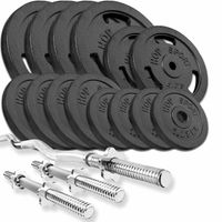 Hop-Sport Guss Hantel-Set 77kg  SZ-Stange Kurzhantelstange 30mm, 1x Curlstange, 2x Kurzhanteln, 4x10kg, 2x5kg, 4x2,5kg, 4x1,25kg