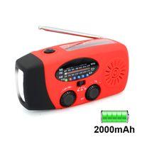 Solar Radio, Multifunktion Tragbares Outdoor Radio Kurbelradio mit AM/FM Wetter Radio, Notfall SOS Alarm (Rot)