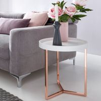 FineBuy Design Beistelltisch GIVE mit Tablett abnehmbar 40 cm Rund Kupfer   Couchtisch Holz   Wohnzimmertisch als Tabletttisch Modern , Farbe Artikel:Weiß