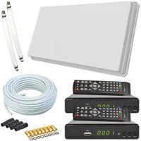 Selfsat H30D2+ Flachantenne Twin + 2 HD RECEIVER + 20m Kabel + Fensterhalterung + 2 Fensterdurchführung + 8 F-Stecker + 4 Wetterschutztüllen (Full HD 4K UHD Sat Anlage für 2 Teilnehmer)