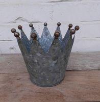 Dekokronen Set 3 Windlichter Teelichthalter Kerzenhalter Eisen silber-Grau