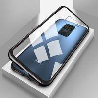 Für Xiaomi Redmi Note 9 Magnet / Metall / Glas Case Bumper Transparent / Schwarz Tasche Hülle Neu