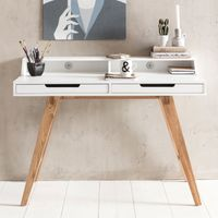 WOHNLING Schreibtisch SKANDI 110 x 85 x 60 cm MDF-Holz skandinavisch weiß matt Arbeitstisch   Design Laptoptisch mit Kabeldurchlass   Bürotisch mit Eiche-Beinen