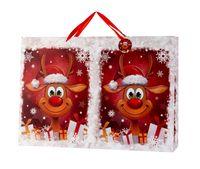 4  XXL Geschenktüten Querformat Weihnachten Lustiges Rentier 72 x 50 cm