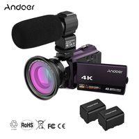 Andoer 4K 1080P 48MP WiFi Digitale Videokamera Camcorder Recorder mit 2-teiligen Akkus + 0,39-fachem Weitwinkel-Makroobjektiv + externem Mikrofon Novatek 96660 Chip 3-Zoll-kapazitiver Touchscreen IR-Infrarot-Nachtsicht 16-fach Digitalzoom