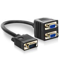 deleyCON S-VGA Y-Adapter Kabel Verteiler - S-VGA Stecker zu 2X S-VGA Buchse - EIN Signal an 2 Monitore - vergoldete Steckkontakte