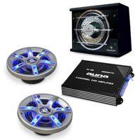 Autoboxen Lautsprecher Set BeatPilot FX-211 1x 4000W Endstufe 2x Einbaulausprecher mit Subwoofer 1400W max. (LED-Lichteffekte, inkl. Kabel-Set, 4-Kanal-Verstärker)