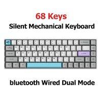 AKKO 68 Tasten Mechanische Tastatur Dual-Modus bluetooth Hintergrundbeleuchtung Gaming-Tastatur, Grün Switch