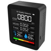 Kohlendioxid-Detektor mit Akku Tragbarer CO2-Messgeraet  Temperatur / Luftfeuchtigkeit CO2 / HCHO / TVOC Digitales Luftanalysator fuer Echtzeitdaten des Home Office