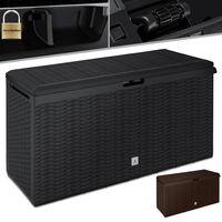 KESSER® Auflagenbox Kissenbox 290 Liter mit Rollen klappbarer Deckel Haltegriffe Rattanoptik Gartenbox, Farbe:Anthrazit