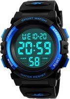Jungen Digitaluhren,Kinder Sport wasserdicht Digital Uhren mit Alarm/Timer/EL Licht,Blau Kinderuhren Outdoor Armbanduhr