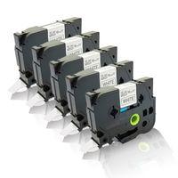 5x Schriftbänder kompatibel für Brother Ptouch TZE-241 P-Touch D400 Series D400 VP D450 VP D600 VP E100 VP E300 VP E500 VP E550W 18mm x 8 m TZ241 Label Tape black