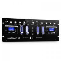 Resident DJ DJ405USB - 4-Kanal-Mixer , DJ-Mischpult , DJ-Mixer , 2 x Bluetooth , 2 x USB , 2 x SD , AUX , Aufnahmefunktion , Mikrofonsektion , XLR-Eingang , 6,3 mm-Klinken-Eingang , schwarz