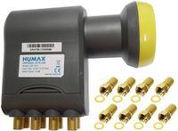 Humax Gold Octo LNB, digitales Satelliten universal LNB mit LTE-Filter für 8 Teilnehmer inkl. Wetterschutzgehäuse und F-Steckern mit Dichtung für besten Satempfang in HD, Full HD, UHD, 4K und 8K