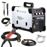 STAHLWERK MIG 200 ST IGBT - MIG MAG Schutzgas Schweißgerät mit 200 Ampere, FLUX Fülldraht geeignet, mit MMA E-Hand, weiß