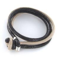 Armband - Leder - Echsenprägung - beige/schwarz