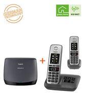 Gigaset Repeater HX + Family Twin Telefone mit Anrufbeantworter  - DECT-Repeater und 2 schnurlose Telefone mit großem Farbdisplay - Set für erhöhte Reichweite, schwarz/anthrazit
