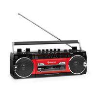 auna Duke MKII Kassettenrekorder - Bluetooth , Direct Encoding von Kassette auf USB/SD , 4-Band Radio: FM, MW, SW1, SW2 , Teleskopantenne , USB , SD Slot , Netz- oder Batteriebetrieb , schwarz/rot