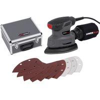 Powerplus Handschleifer Set mit Koffer und 100 x Schleifpapier 140 W 13000 min-1