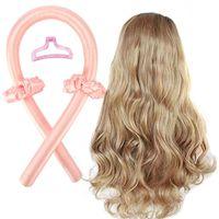 Rosa Heatless Curling Rod Stirnband, No Heat Curls Seidenband Hair Rollers Schlafen Soft Curls Silk Ribbon, tragbare Wave Formers Hair Lazy Curler Set