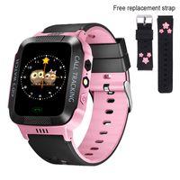 Kinder Smartwatch mit GPS Tracker IP67 Wasserdichte Smartwatch für Kinder, Kleinkinder Telefonuhr mit Wecker Deutsches Display (Schwarz und Pink)