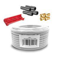 50m ARLI Koaxialkabel max. 135dB + 4x F-Stecker vergoldet + 4x Gummitülle + Abisoliermesser