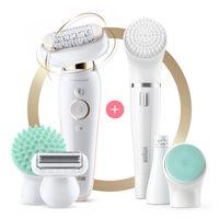 Braun Silk-épil 9 Flex 9300 Beauty-Set – Epilierer für Frauen mit flexiblem Kopf für eine einfachere Haarentfernung, weiß/gold