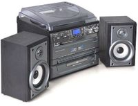 auna TC-386 Stereoanlage mit Plattenspieler Kompaktanlage (Riemenantrieb, max. 45 U/min, 2 x Lautsprecher, Bassreflex, Radio, CD-Player, MP3-fähig, 2 x Kassettendeck, USB- & SD-Port) schwarz