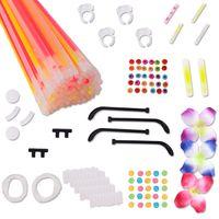 TE-Trend 100 Stück Glow Sticks Knicklichter Set Armbänder 120-teilig Glow in the Dark Schmuckset Leuchtarmbänder Leuchtbänder Mehrfarbig