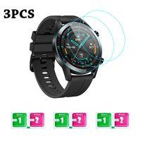 3-teilige Smartwatch-Displayschutzfolie aus gehaertetem Glas mit Tuechern Kompatibel mit HUAWEI WATCH GT 2 / HONOR MagicWatch 2 46 mm