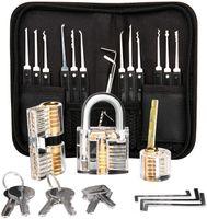 Haice Dietrich Set, 24 Stück Lock Picking Set mit 3 Transparenttem Vorhängeschloss Dietrichen Kit für Anfänger und Professionelle Lockpicker