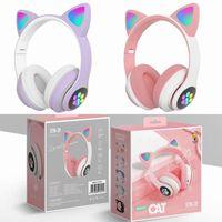 Bluetooth 5.0 RGB Headsets LED Stereo Musik Kopfhoerer Katze Ohr Kopfhoerer Faltbare Erwachsene Kinder Kopfhoerer Sport Headset-lila