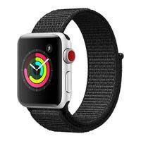 Apple Watch 42 / 44mm Armbanduhr aus gewebtem Nylon, Klettverschluss – Schwarz