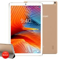 YOTOPT Tablets 10 Zoll (25.6 cm) mit Hülle, Octa-core, Android 10.0 Pie, 64GB, 4GB RAM, 4G Dual SIM, WIFI/Bluetooth, GPS, Type-C/SD, Farbe: Gold